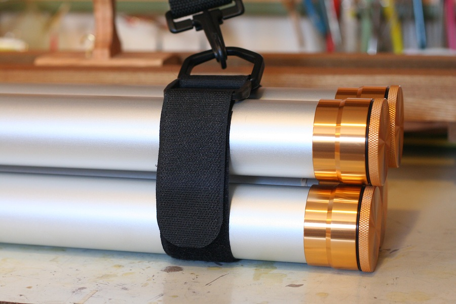Fly rod carry strap with bamboo fly rods